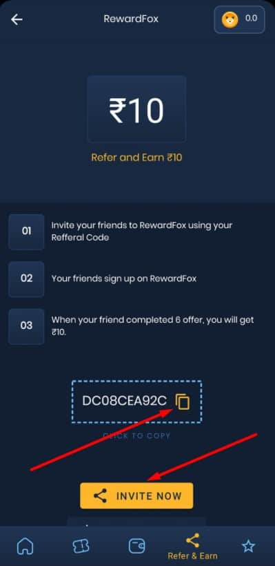 Reward fox refer code