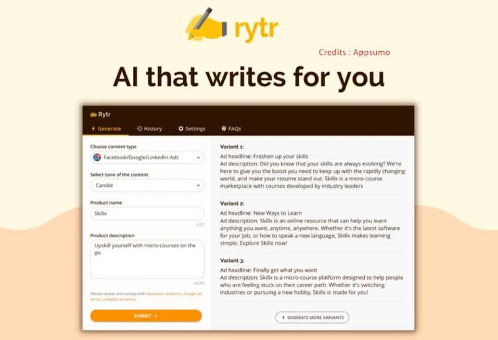 Rytr lifetime deal appsumo